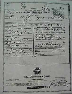 Quanah Parker Last Chief of the Comanche Tribe Death Certificate