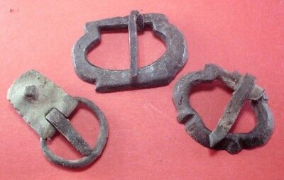 Lot - 3 Pieces Ancient Celtic Roman Complete Bronze Belt Buckles
