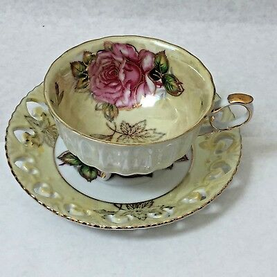 LM Royal Halsey  Tri-Footed Tea Cup and Saucer Yellow with Pink Rose  Lusterware