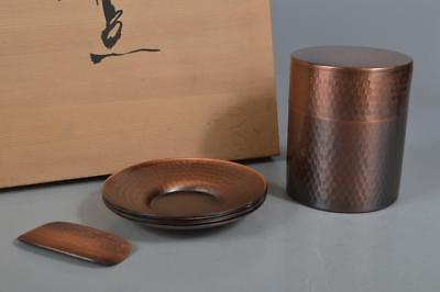 R1956:Japanese Copper Finish hammer pattern TEA CUP TRAY TEA CADDY w/signed box