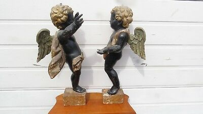 Antique Italian hand carved wood Cherub