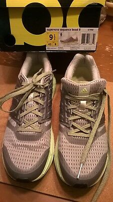 8b8361e03 Adidas Supernova Sequence Boost 8 SZ9.5 Grey Lime womens shoes
