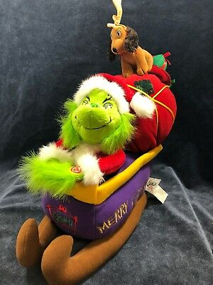 Dr. Seuss How The Grinch Stole Christmas Musical Plush With Max On Sleigh