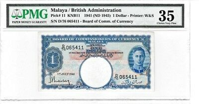 Malaya British Administration 1941 Nd(1945) $1 Dollar Pmg Printer W&s Banknote