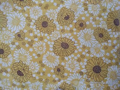 Vintage Cotton Sheet Fabric Yellow Floral