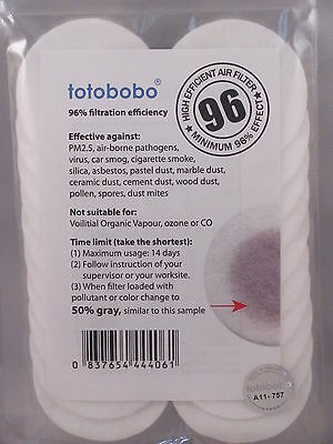 ANTI POLLUTION TOTOBOBO 96% FILTERS (10 PAIRS) Top protection! High efficient !