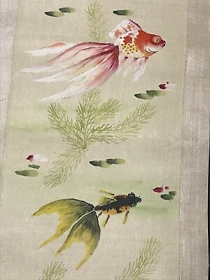 Vintage Chinese Hand Painted Watercolour GOLDFISH SILK SCROLL Painting Art Fish