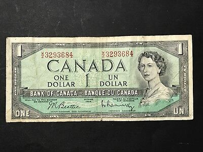BANK OF CANADA Paper $1 One Dollar Note 1954 Beattie/Rasminsky Banknote