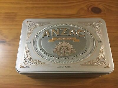 Collectable 2018 ANZAC Biscuit Tin Commemorating 100 Years 1918 / 2018 ( Empty )