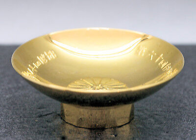 Vintage Japanese 24 K Gold Covered Metal Footed Dish Dated Showa Period  c1941