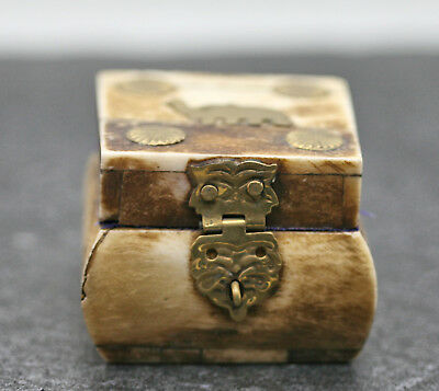 Beautiful Vintage Square Trinket Box Decorated w/Brass fittings and Elephant