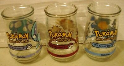 Welch's Jelly Glass 1999 Nintendo Pokemon Squirtle #7 Meowth #52 Poliwhirl #61