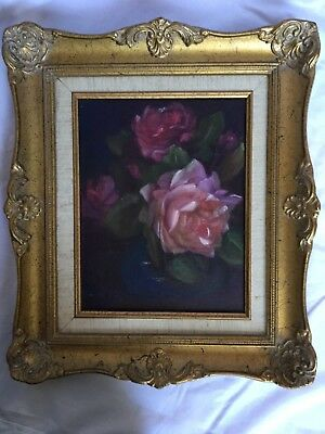 Vintage original oil painting of Red roses in gold framed art flowers signed