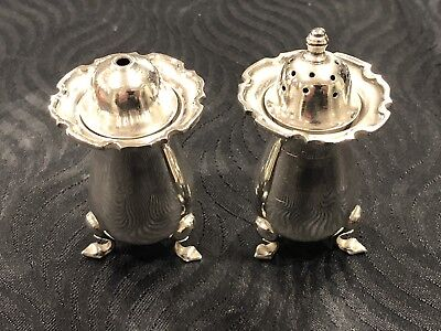 Antique Pair Sterling Silver Salt And Pepper Pots