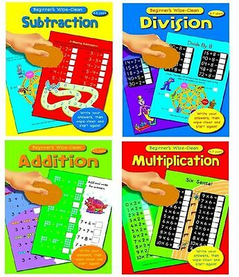 Set of 4 x Wipe Clean Beginners Maths Book Kids/Child Early Age Learning Books