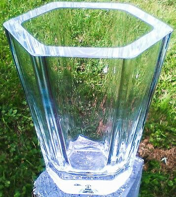 "Skruf Sweden Full Lead Crystal 6"" by Bengt Edenfalk 1974 Very Rare Vase"