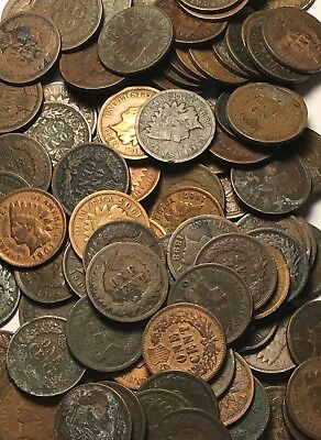 LOT OF 100 COINS (2 ROLLS) AVERAGE CIRC Indian Head Cent Pennies FREE SHIPPING!