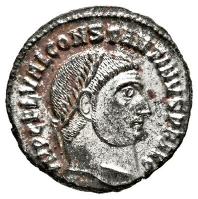 CONSTANTINE THE GREAT (317 AD) Silvered Follis, Alexandria #IU 741