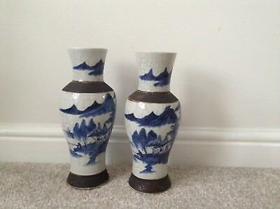 Antique Chinese Blue And White 19th Century Porcelain Vases Rare