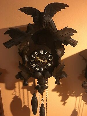 Antique AMERICAN Cuckoo Clock Co. Eagle Black Forest Bone hands