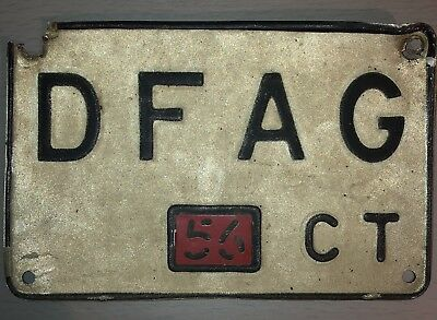 1956 DFAG Connecticut License Plate Tag