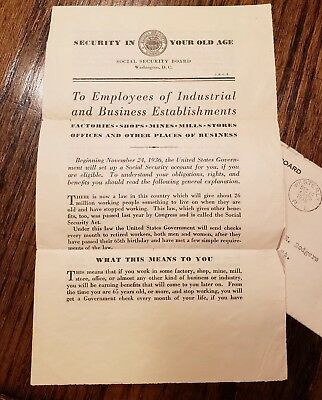 SECURITY IN YOUR OLD AGE 1936 Social Security System Informational Mailing