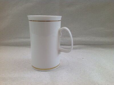 Dunoon Fine Bone China Mug, White With Gold Coloured Gilt Trim At Top And Bottom