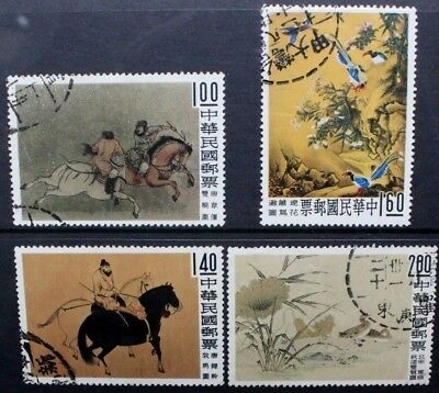 CHINA TAIWAN 1960 Paintings from Palace Museum (#1). Set of 4. USED. SG358/361.