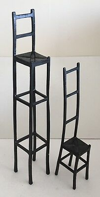 A Rare Pair Of Vintage Miniature Bronze Chairs In The Style Of Giacometti