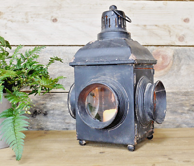 Antique Vintage Style Large Industrial Carriage Lantern Candle Holder Steampunk
