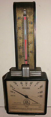 Antique Airguide Art Deco Barometer Thermometer Advertising Cromwell Paper Co