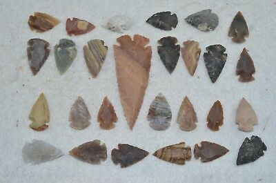 """27 PC Flint Arrowhead Ohio Collection Points 1-3"""" Spear Bow Knife Hunting Blade"""