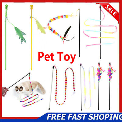 Colorful Rainbow Strap Rod Cat Teaser Wand Interactive Stick Pet Kitten Play Toy