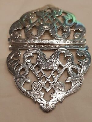 1902 Antique Ornate Pierced Victorian  Nurses Silver Buckle  34.7g SOLID SILVER