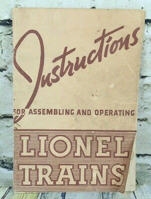 Instructions for Assembling and Operating Lionel Trains 1940 Paperback Booklet