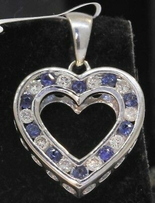 Stunning 14K White Gold Heart Pendant With 1.00 Ctw Sapphires And Diamonds! #u52