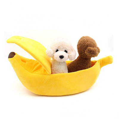 Cat Banana Bed Pet Dog Boat Warm Hourse Soft Yellow Sleep Nest Winter Cotton NEW
