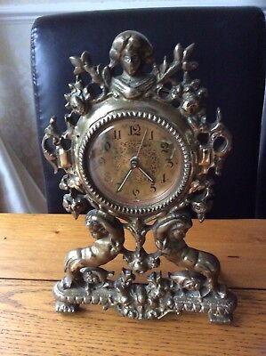 Vintage Brass Mantle Clock with two Mermaids Maritime Theme
