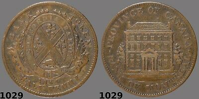 1844 Bank of Montreal Half Penny Tall trees