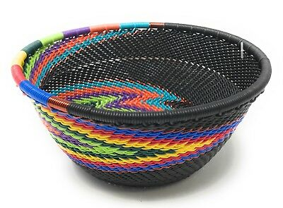 Fair Trade Zulu Telephone Wire Baskets South Africa - Small Bowl Black Rainbow