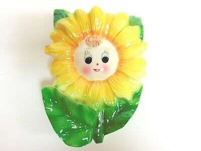 """Vintage Py? Japan Sunflower Girl Wall Pocket - Large Size - About 8"""" By 5 1/2"""" W"""