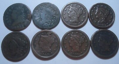 8 Large Cents with problems.  Mixed lot.  Classic, Coronet, Braided Hair