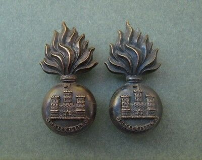 Royal Inniskilling Fusiliers Officer's pair of early flat Bronze Collar Badges