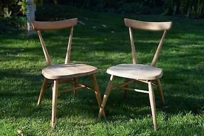 Pair Of Vintage Ercol 392 Junior Stacking Chairs Original Condition Light Colour