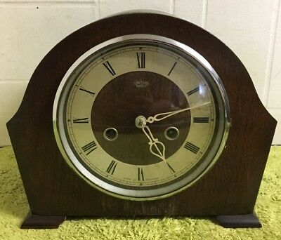 Antique/vintage Smiths Enfield Mantel Clock With Key