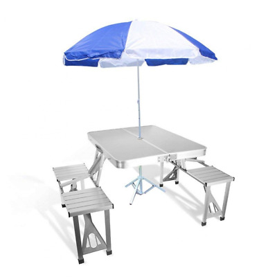 Folding Picnic Table Aluminum Coffee Tables 4 Seats Suitcase (Table & Umbrella)