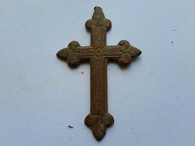 Metal detecting find:Medieval /Post Medieval Copper cross,decorated.