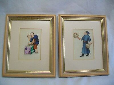 Pair Antique Chinese Rice Pith Paper Paintings 19Th C Men Working Occupational