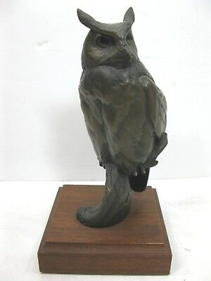Chester Comstock Colorado Bronze Horned Owl Signed 1981 Sculpture Statue