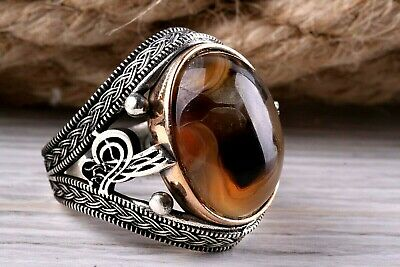 Yemeni Agate Aqeeq Stone Turkish HANDMADE 925 Sterling Silver Mens Ring ALL SİZE